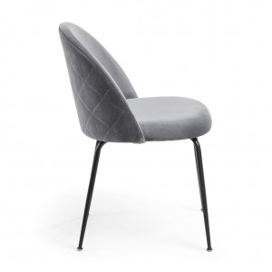 Mystere Dining Chair, Black fabric, Black legs