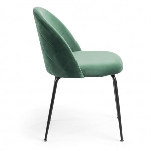 Mystere Dining Chair, Green fabric, Black legs
