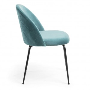 Mystere Dining Chair, Teal fabric, Black legs