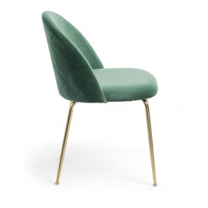 Mystere Dining Chair, Green fabric, Gold legs