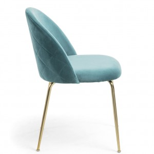 Mystere Dining Chair, Teal fabric, Gold legs