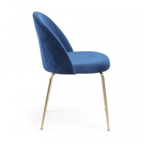 Mystere Dining Chair, Blue fabric, Gold legs