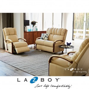 Harbor Town 3 Piece Lounge Suite (2 Seater and Two Rocker Recliners) Mahogany Arms, Base and Handle, Fabric Upholstery