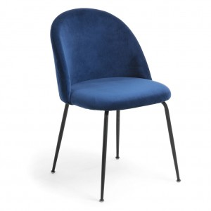 Mystere Dining Chair, Blue fabric, Black legs