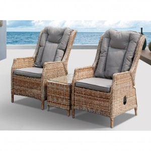 Hawaii Outdoor Three Piece Recliner With Coffee table Setting
