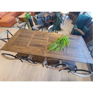 Reclaimed Cross Metal Leg 2000 Table