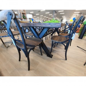 Reclaimed Cross Metal Leg 2500 Table