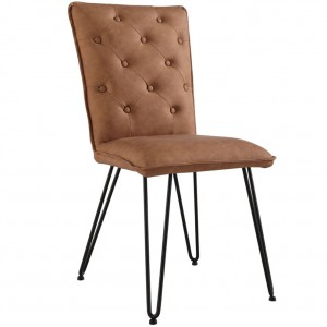 Studded back chair with hairpin legs