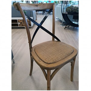 Shanghai Oak Cross Metal Back Chair